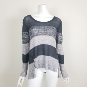 Eileen Fisher Gray Striped Linen Sweater